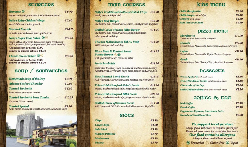 Durty Nellys Irish Pub Bunratty - Bar Menu